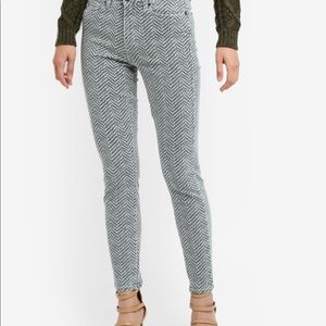 Paige Hoxton Mint Herringbone Ankle Skinny Jeans